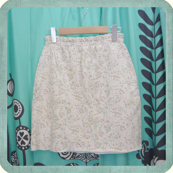 USED/ユーズド ペイズリー柄 スウェットミニスカート Trend sherbet color Paisley cotton jersey short skirt