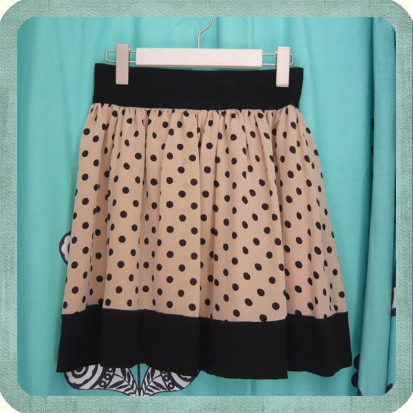 リメイク ウェストゴム ドットスカート waist band skirt