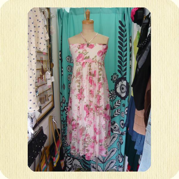 シフォンチューブトップワンピース chiffon tube top dress