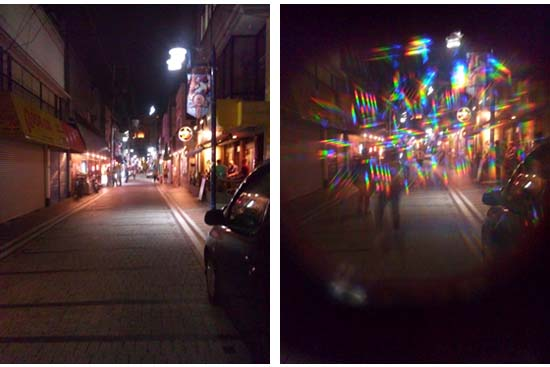 "虹色めがね:ビフォー&アフター How you can see lights in the night through ""Rainbow Glasses""."